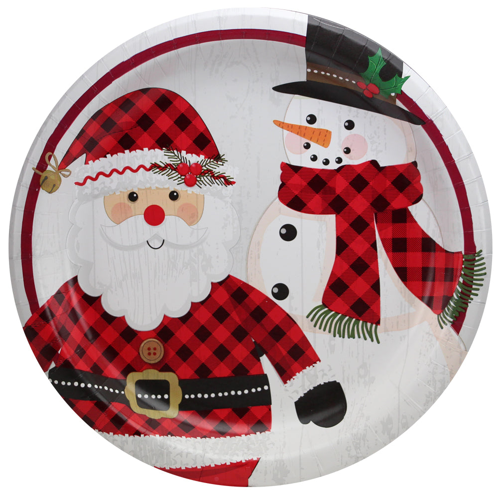 Premium Paper Rustic Christmas Tableware<br/>Size Options: 10inch Plate, 8.5inch Plate, 6.75inch Plate, and Lunch Napkin
