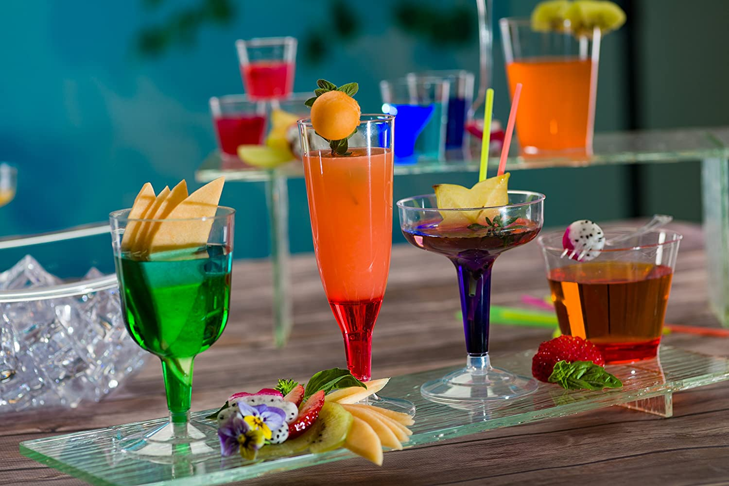 Plastic Party Drinkware<br/>Size Options: 4oz Champagne Cup, 5oz Wine Cup, 5oz Champagne Flute, 5oz Margarita Tumbler, and 7oz Martini Tumbler