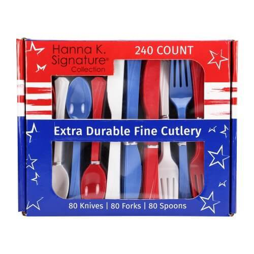 Premium Heavy Weight Paper Stars 'N Stripes Tableware<br/>Size Options: 12inch Plate, 10inch Plate, 8.75inch Plate, 7inch Plate, 12oz Bowl, 20oz Bowl, Lunch Napkin, 12oz Cup and Combo Cutlery - King Zak