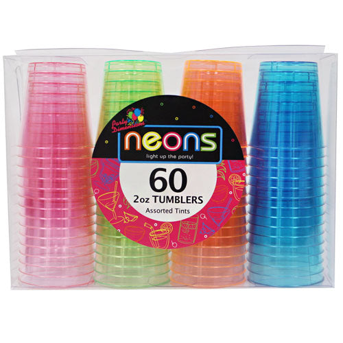 Plastic Neon Tumbler<br/>Size Options: 1oz Tumbler and 2oz Tumbler
