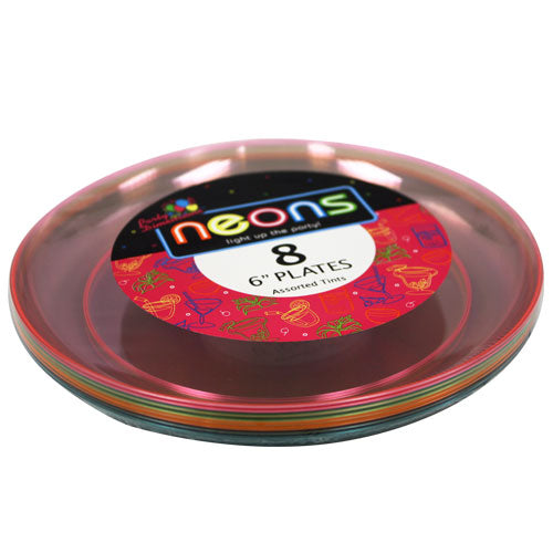 Plastic Neon Tableware<br/>Size Options: 9inch Plate, 6inch Plate, 10oz Bowl and 6oz Bowl