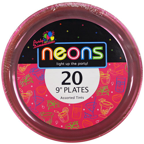Plastic Neon Tableware<br/>Size Options: 9inch Plate, 6inch Plate, 10oz Bowl, and 6oz Bowl