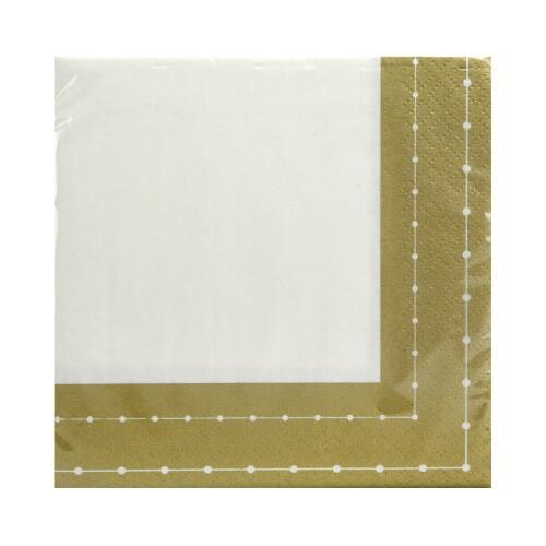 Beverage Napkin / Gold Beaded