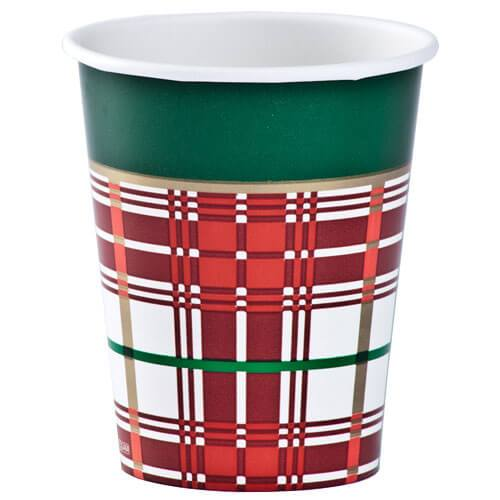 Premium Heavy Weight Paper Christmas Plaid Tableware<br/>Size Options: 10inch Plate, 7inch Plate, Lunch Napkin, Beverage Napkin, 9oz Cup and 54inchx96inch Tablecover - King Zak