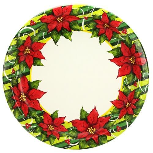 10inch Plate / Poinsettia Wreath