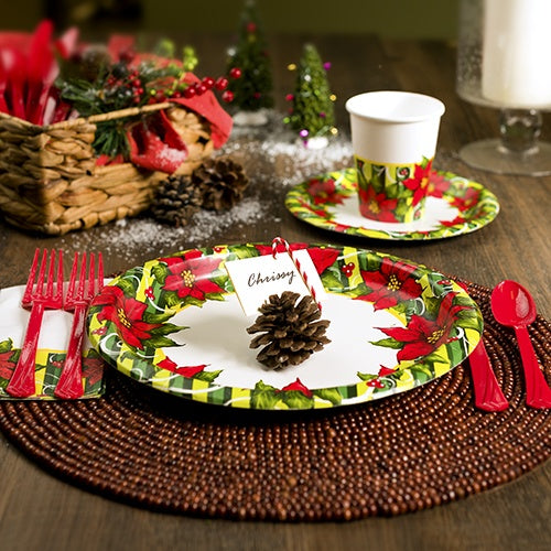 Premium Heavy Weight Paper Poisettia Wreath Tableware<br/>Size Options: 10inch Plate, 7inch Plate, Lunch Napkin, Beverage Napkin, 9oz Cup and 54inchx96inch Tablecover