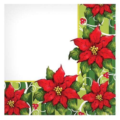 Lunch Napkin / Poinsettia Wreath