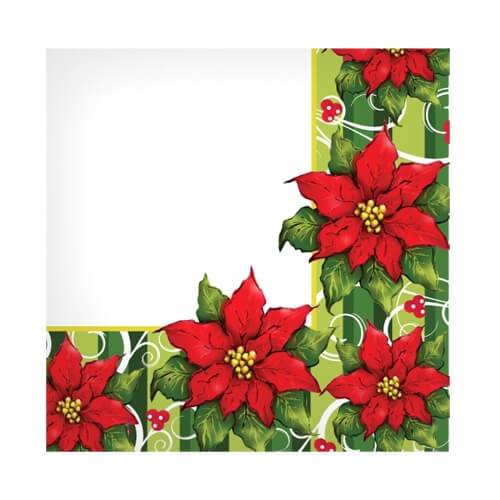 Beverage Napkin / Poinsettia Wreath