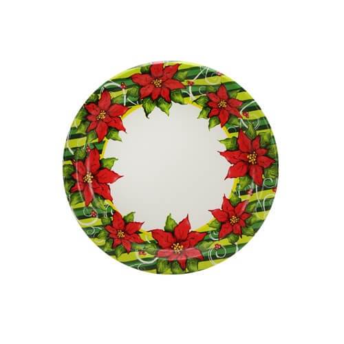 7inch Plate / Poinsettia Wreath