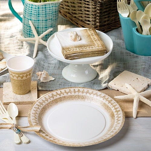 Premium Extra Heavy Weight Paper Burlap Dinnerware & Tableware<br/>Size Options: 10.25inch Plate, 7inch Plate, 9oz Cup, Lunch Napkin and Beverage Napkin