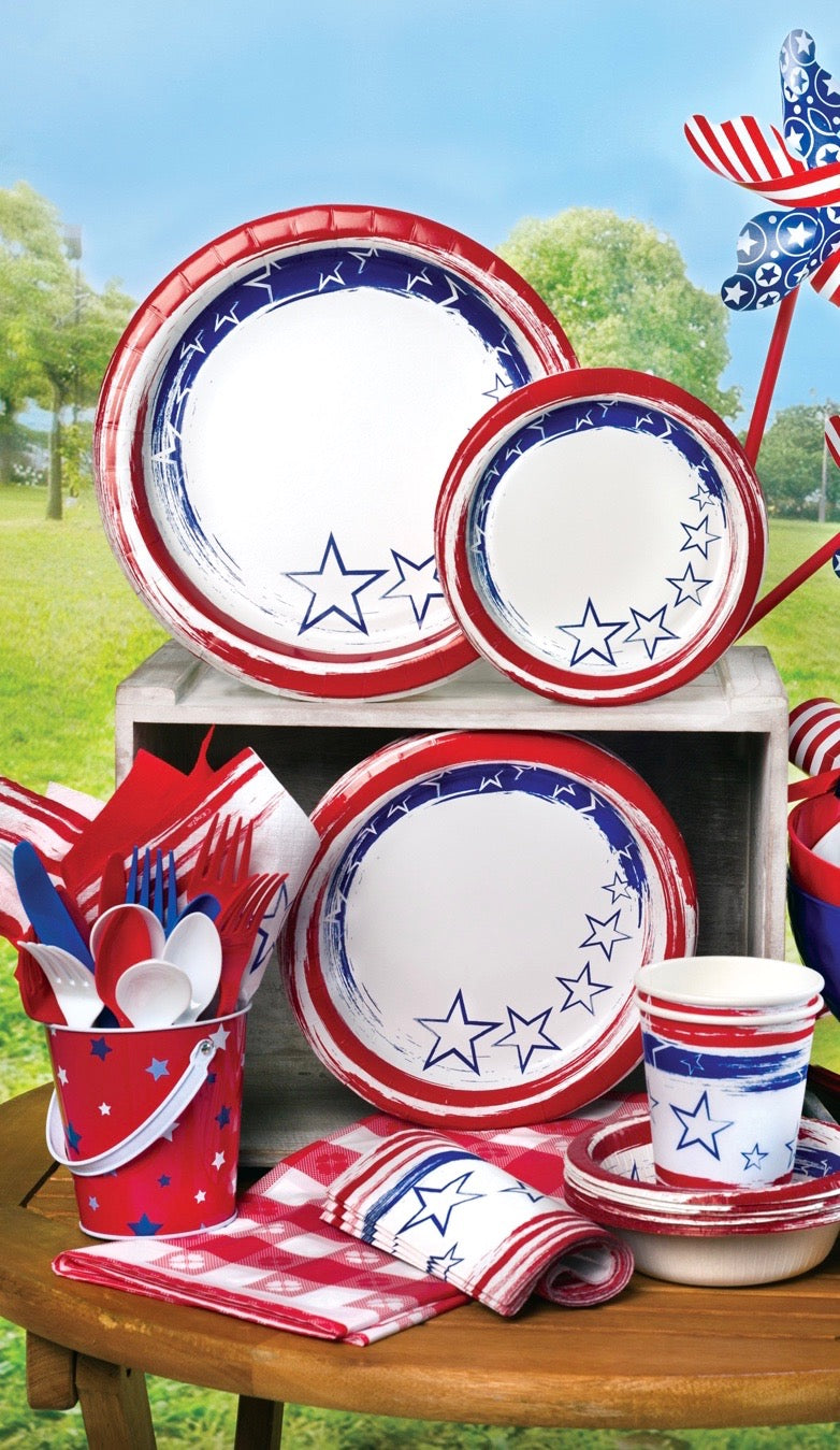 Premium Heavy Weight Paper Stars 'N Stripes Tableware<br/>Size Options: 12inch Plate, 10inch Plate, 8.75inch Plate, 7inch Plate, 12oz Bowl, 20oz Bowl, Lunch Napkin, 12oz Cup and Combo Cutlery
