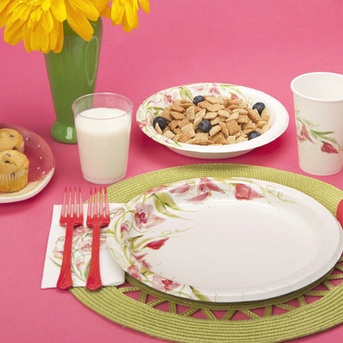 Premium Paper Floral Oval Tableware<br/>Size Options: 12inch Plate, 10inch Plate, 8.75inch Plate, 7inch Plate, 20oz Bowl, 12oz Bowl, 12oz Cup., and Lunch Napkin