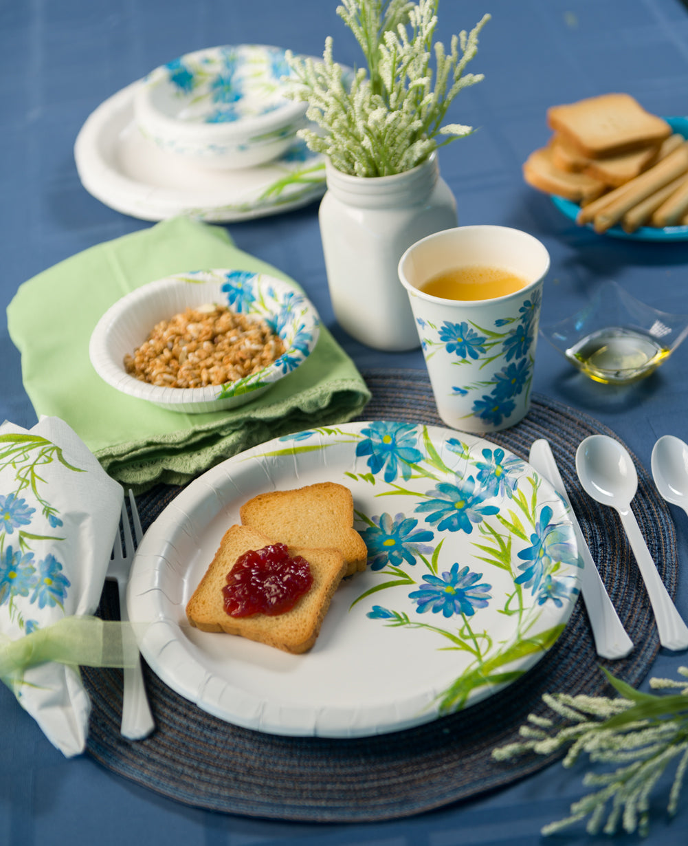 Premium Paper Floral Tableware<br/>Size Options: 12inch Plate, 10inch Plate, 8.75inch Plate, 7inch Plate, 20oz Bowl, 12oz Bowl, 12oz Cup., and Lunch Napkin
