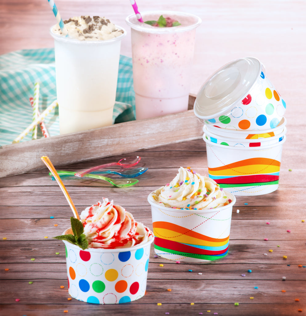 Paper Ice Cream Cup<br/>Size Options: 8oz Ice Cream Cups and 6oz Ice Cone Cup