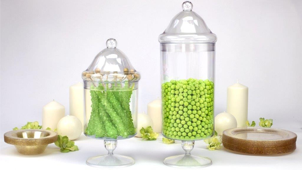 Premium Heavy Weight Plastic Apothecary Jar<br/>Size Options: Large Apothecary Jar