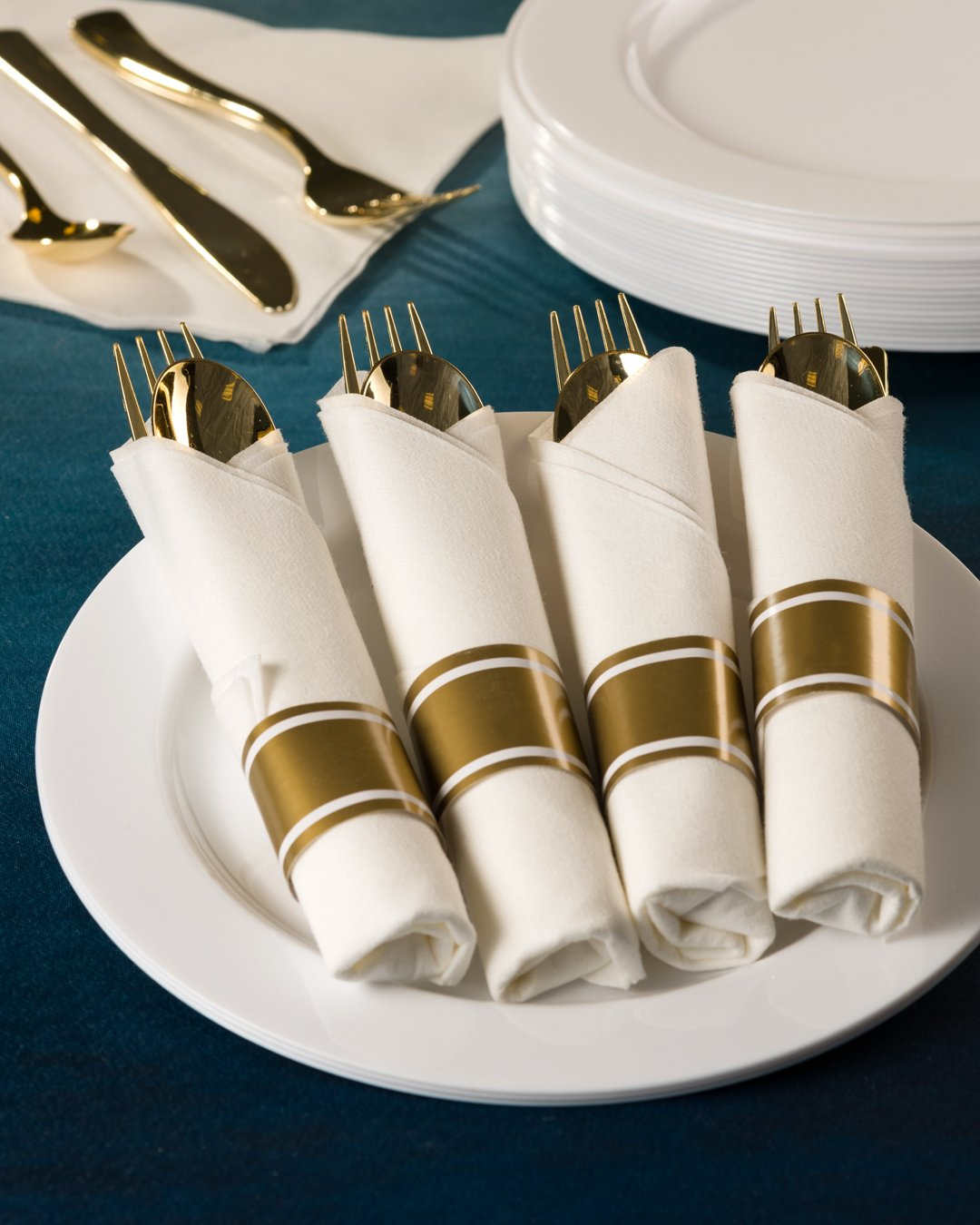 Premium Plastic Pre-Rolled Combo Cutlery<br/>Includes: Soupspoon, Teaspoon, Fork, Knife, and Napkin