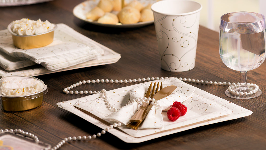 Premium Extra Heavy Weight Paper Swirls & Pearls Dinnerware & Tableware<br/>Size Options: 10inch Plate, 9inch Plate, 7inch Plate, 12oz Cup, Lunch Napkin, and Bistro Napkin