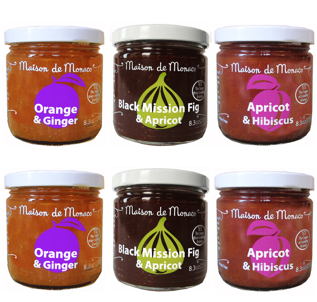 Six Jars assortment- Fig & Apricot , Orange & Ginger and Apricot & Hibiscus