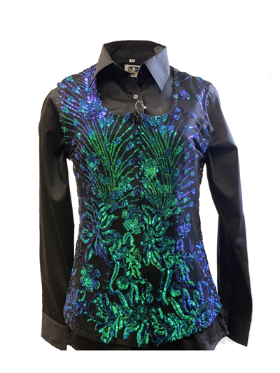 LADIES BLUE SEQUINS SHOW VEST