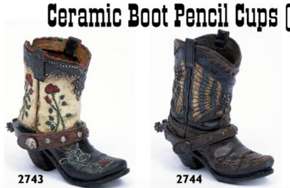 Ceramic Boot Pencil Cups (11.5 cm)