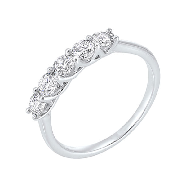 14kw 5 stone shared prong diamond band 3/4ct, nr1175-4wcr