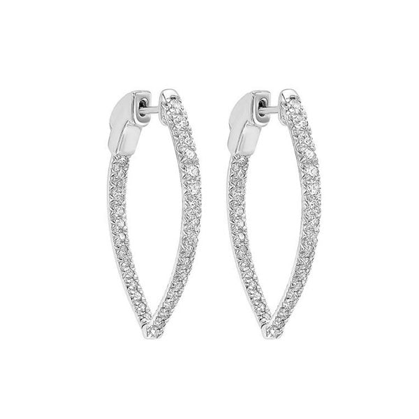 14kw prong diamond hoop earrings 1ct, fe2044-1pd