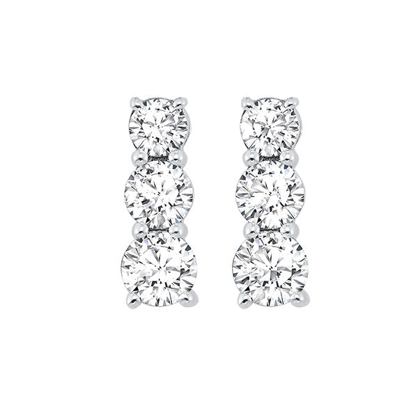 14kw 3 stone prong diamond earrings 1/2ct, fr1034-1y