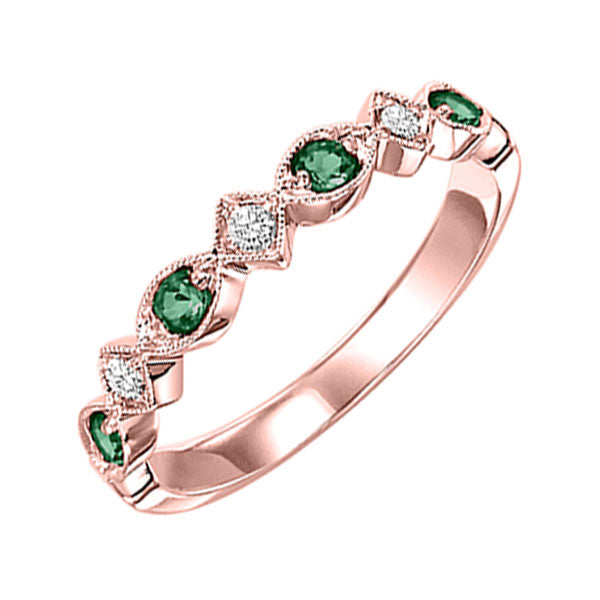 10kr mix prong emerald band 1/20ct