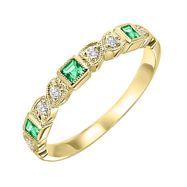 10ky mix bezel emerald band 1/10ct