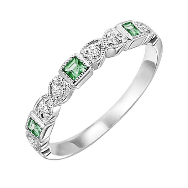 14kw mix bezel emerald band 1/12ct, se6037g4-4w