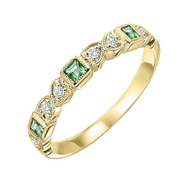 14ky mix bezel emerald band 1/12ct, se6050g4-4w