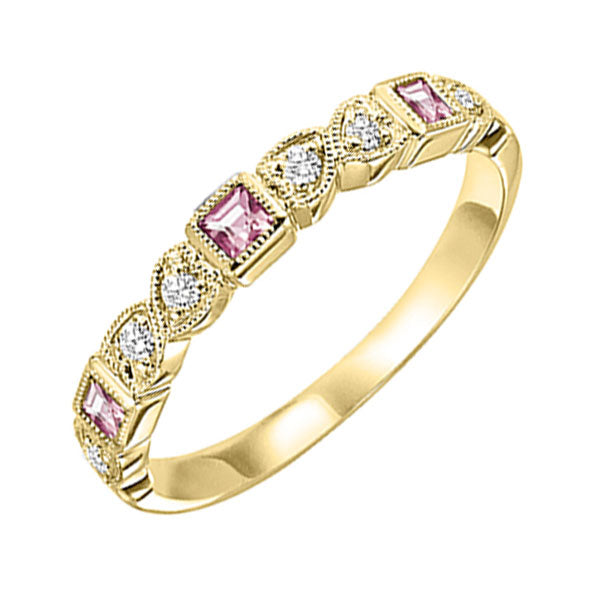 10ky mix bezel pink tourmaline band 1/10ct