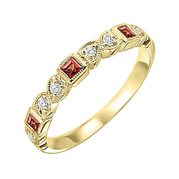 10ky mix bezel garnet band 1/10ct