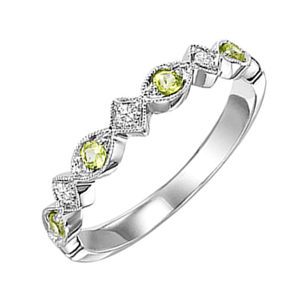 10kw mix prong peridot band 1/20ct