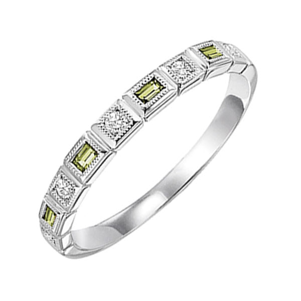 14kw mix bezel peridot band 1/12ct, rg73431-4wb