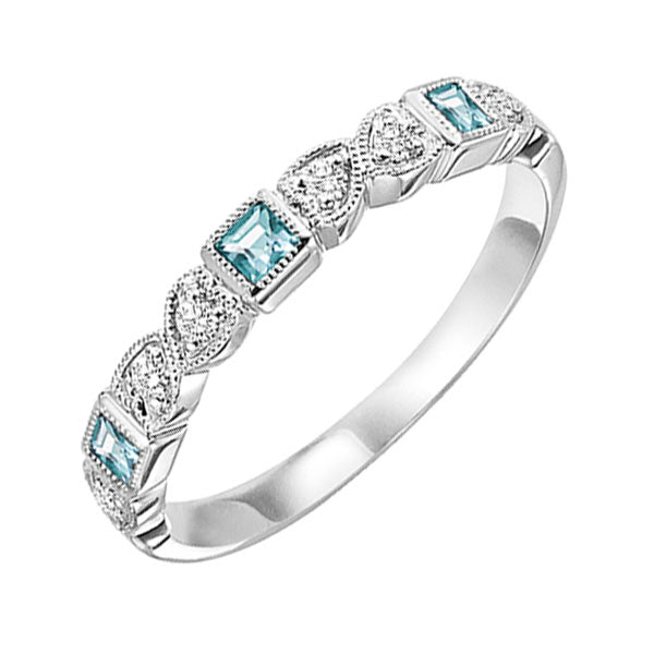 14kw mix bezel aquamarine band 1/12ct, se7014g3-4w