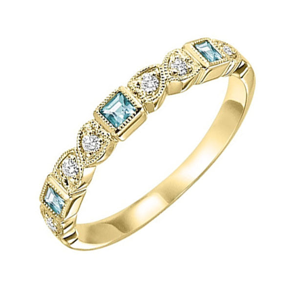 14ky mix bezel aquamarine band 1/12ct, se7020g3-4w