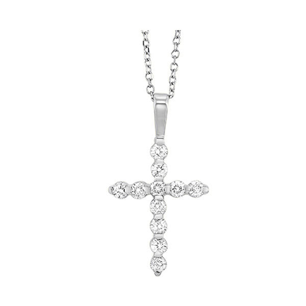 14kw cross bar set diamond necklace 1/2ct, fr1035-1p