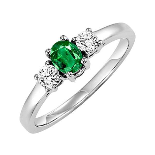 14kw color ens prong emerald ring 1/4ct, h946-2-4wc