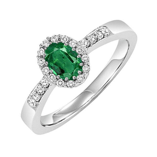14kw color ens halo prong emerald ring 1/8ct, rg68826-4wc