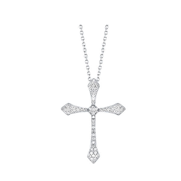 14kw cross shared prong diamond necklace 1/5ct, fr1078-4w