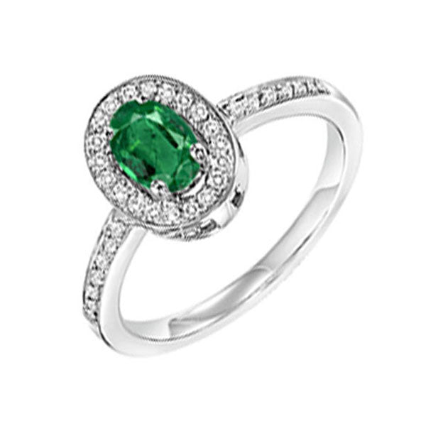 14kw color ens halo prong emerald ring 1/5ct, rg68884-4wpc
