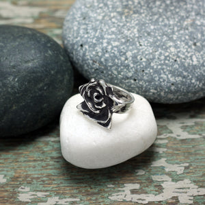 Rose sterling silver statement ring