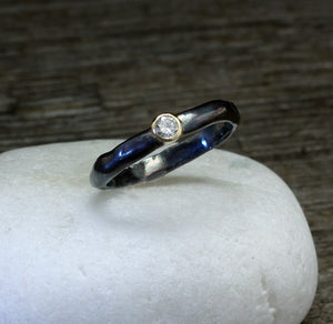Diamond oxidized silver and 18k gold ring