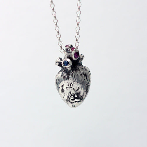 Anatomical Human Heart with rubies and sapphires in sterling silver pendant