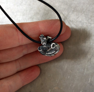 Anatomical Human Heart sterling silver pendant