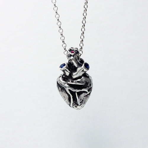 Load image into Gallery viewer, Anatomical Human Heart with rubies and sapphires in sterling silver pendant