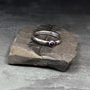 Sterling silver ring with rose cut amethyst set in 14k yellow gold