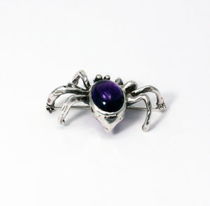 Load image into Gallery viewer, Big fat spider brooch with amethyst