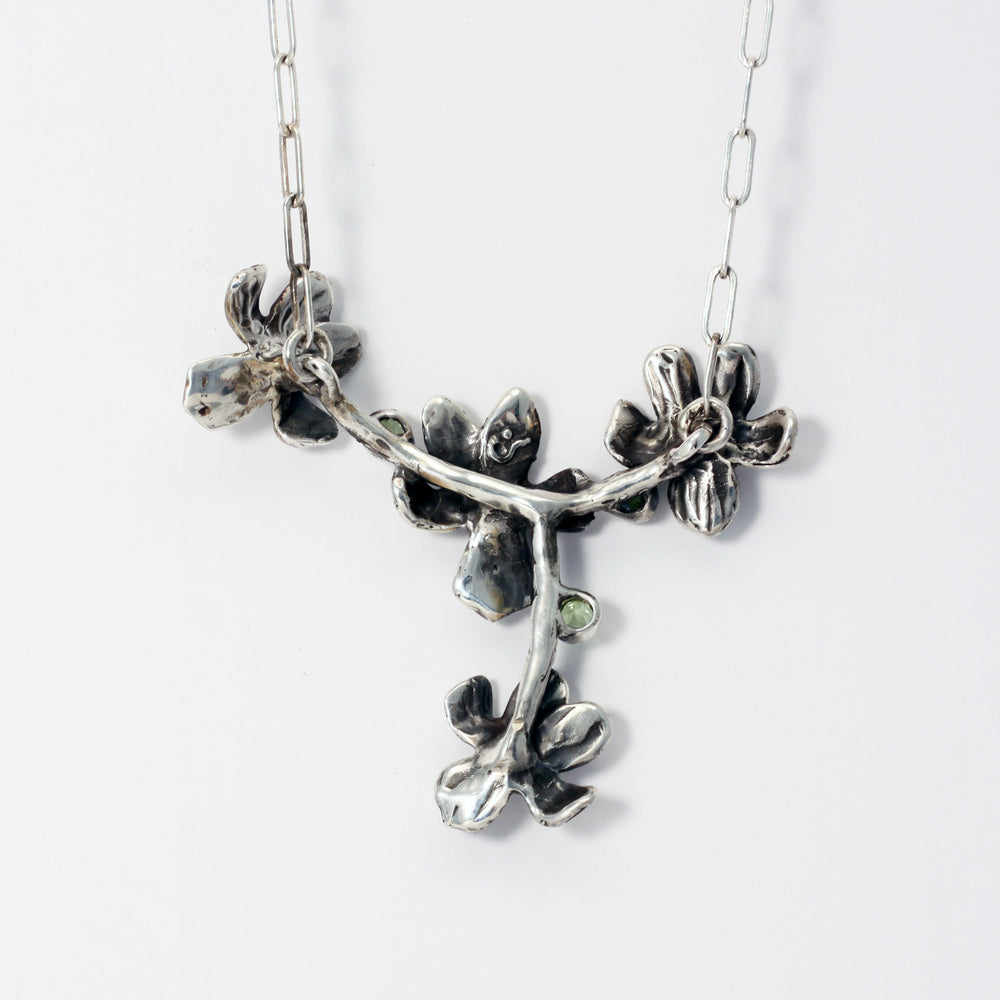 Load image into Gallery viewer, Wood Violets with faceted peridot and amethyst - sterling silver